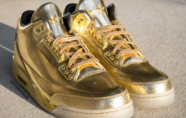 "Brand New Usher's Air Jordan 3 ""Gold"" PE Basketball Shoes"